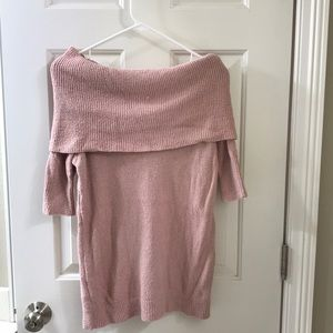 Mauve pink off the shoulder sweater